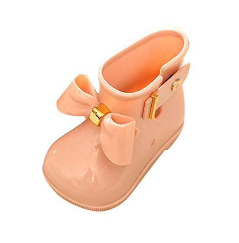 CHENGYANG Children Girls Bow Tie Student Jelly Shoes Non-Slip Low Heels Rain Boots Apricot 7 Child UK