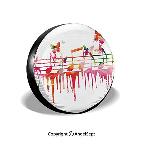 Spare Tire Cover,Colorful Artwork Music Notes Clef Composer Orchestra Decorative Classic,for Jeep Trailer SUV RV and Many Vehicles,16 Inch (Best Trailer Music Composers)