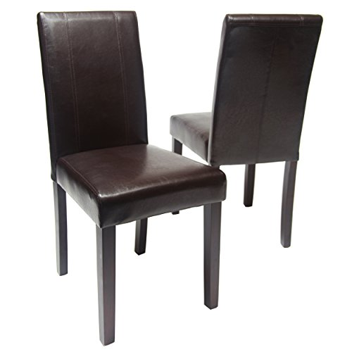 Roundhill Furniture Urban Style Solid Wood Leatherette Padded Parson Chair, Brown, Set...