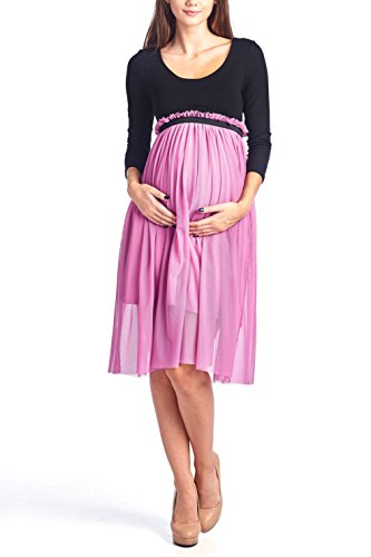 Beachcoco Maternity Women's Double Layered Mesh Midi Dress Made in USA