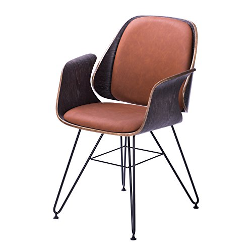 Bent Plywood Chair (Supernova Bent Plywood Chair Brown Indoor Steel Wire Eiffel PU Kitchen Department Dining Arm Chair)