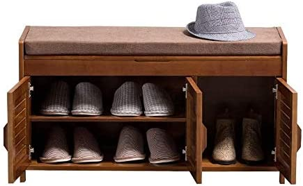 玄関ベンチ 廊下のドア玄関のために隠されたストレージ区画と靴ベンチ2層シューズラック靴キャビネット取り外し可能なクッション (Color : As Picture, Size : 90x32.5x49cm)