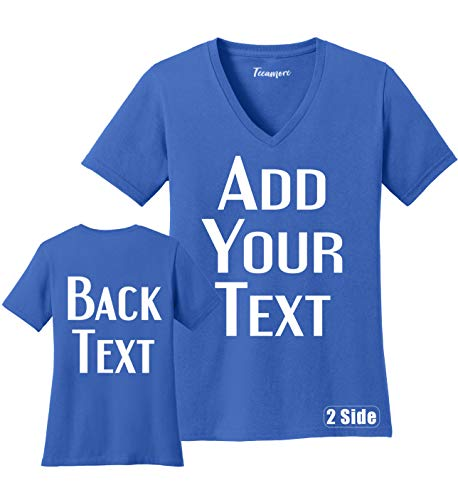 TEEAMORE Women Custom V Neck T Shirt Add Your Text Design Your Own Front Back Side