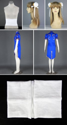 Street Fighter II Cosplay Costume - -Chun-Li 1st Blue Kid Large by Dream2Reality (Image #8)