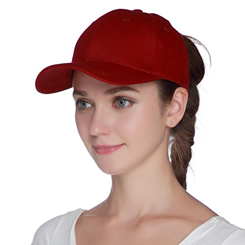 (Womens Ponytail Baseball Hat Messy High Buns Ponycap Plain Unconstructed Cotton Dad Hat Adjustable Cap Hat for Girls, Variy Styles and Colors)