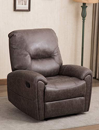 CANMOV Breathable Bonded Leather Gliding Recliner Living Room Chair,Traditional Single Seat Sofa Manual Recliner Chair with Overstuffed Arms and Back, Gray