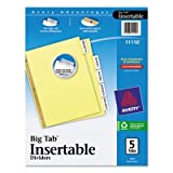 WorkSaver Big Tab Reinforced Dividers With Clear Tabs, 5-Tab, Letter, Buff, Total 48 ST, Sold as 1 Carton