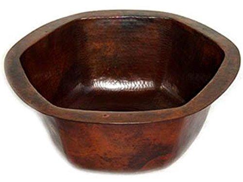 (RTS_CBH-16, Classic Hexagonal Copper Bar Sink - 16x16x7, Dark Brown Patina)