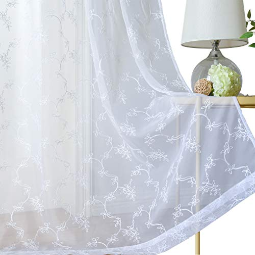 Valea Home Grommet White Sheer Curtain Floral Leaf Embroidered Voile Curtains Window Treatment Panel Drape, 54 x 84 inch, 1 Panel, White