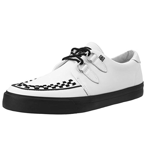 T.U.K. A9179 Unisex White Leather VLK Creeper Sneaker With Black Interlace and Black Sole (US Mens 9/US Women's 11) Tuk Creeper Shoes