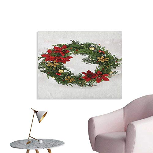Anzhutwelve Christmas Wallpaper Floral Wreath Cultural Design Poinsettia Blossoms Holly Pine Cone Branches Art Poster Green Red Gold W36 xL24 for $<!--$33.00-->
