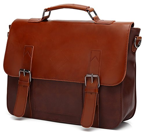 Men Vintage PU Leather Briefcase Laptop Shoulder Messenger Bag Zebella (Light Brown Leather Briefcase)