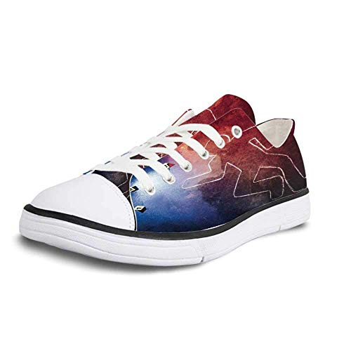 Canvas Sneaker Low Top Shoes,Murder Scene Fresh Homicide Scene Bullets Chalk Outline Evidence Markers Detective Police Decorative Women 6