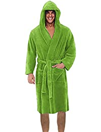 Robes for Men Solid Color Fleece Robe Plush Shawl Bathrobe