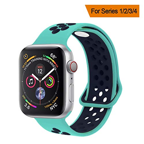 YC YANCH Greatou Compatible for Apple Watch Band 38mm,Soft Silicone Sport Band Replacement Wrist Strap Compatible for iWatch Apple Watch Series 3/2/1,Sport,Edition,M/L,Turquoisemid Midnightblue