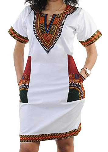 - shekiss Women's Bohemian Bodycon Dashiki African Vintage Print V-Neck Club Midi Dress White/Red