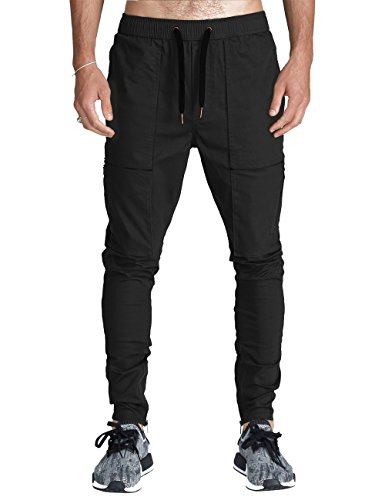 Twill Zipper - ITALY MORN Men Chino Cargo Jogger Pants Casual Sweatpants Twill Khakis Slim fit M Black