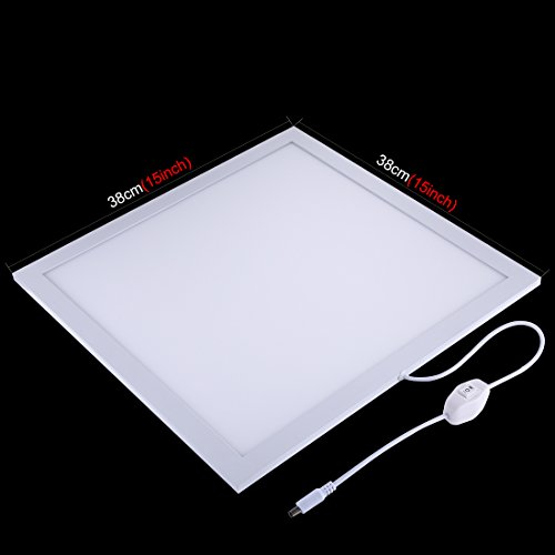 PULUZ 38cm X 38cm / 15in X 15in Dimmable LED Photography Photo Video Light Panel Shadowless Softbox Bottom Light Panel Brightness Adjustable by PULUZ