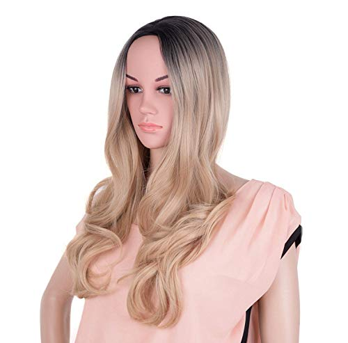 Gray Wig Synthetic Hair Long Straight Full Head Black Cosplay Wigs for Women Hair,ombre blonde,24inches]()