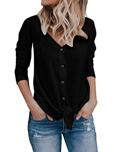 Dokimi Womens Tie Knot Button Down Knit Sweater V Neck Front Tie Long Sleeve Loose Tops
