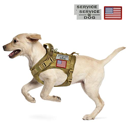 (Tactical Service Dog Vest Harness Outdoor Training Handle Water-Resistant Comfortable Military Patrol K9 Dog Harness with Handle (01 XL, 01-Khaki))