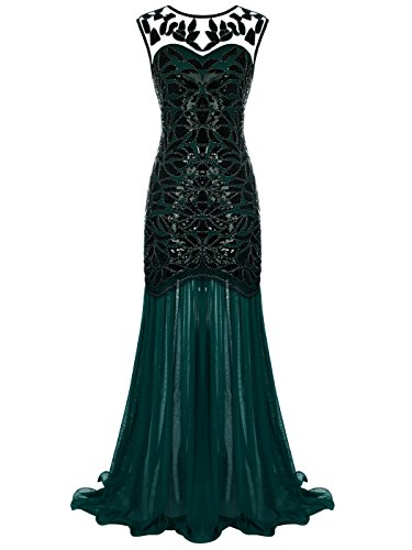 (FAIRY COUPLE 1920s Floor-Length V-Back Sequined Embellished Prom Evening Dress D20S004(L,Dark)