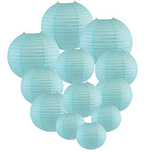 Just Artifacts Decorative Round Chinese Paper Lanterns 12pcs Assorted Sizes (Color: Sky -