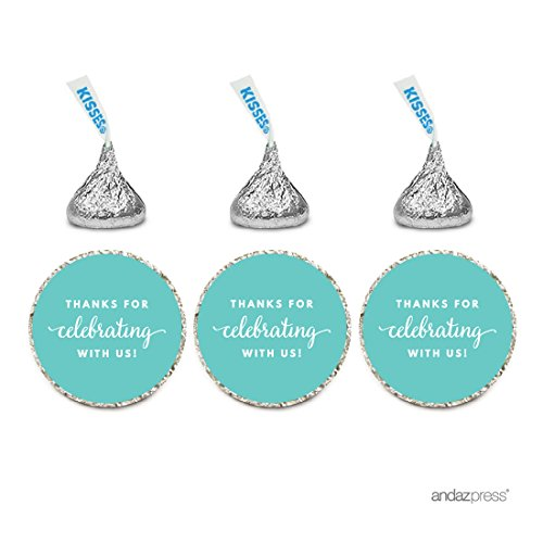 Andaz Press Chocolate Drop Labels Trio, Fits Hershey's Kisses Party Favors, Thanks for Celebrating With Us, Diamond Blue, 216-Pack, Robin's Egg Blue - And Cheap Co Tiffany
