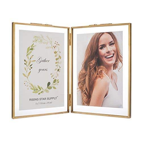 - Rising Star Double 5x7 Folding Picture Frames, Gold Metal Pressed Glass Photo Frame Brass