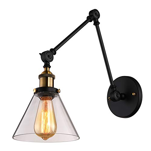 Cone Glass Shade Wall Lamp - BAYCHEER Industrial Vintage Style Adjustable Swing arm Wall Sconce Wall Light lamp in Matte Black with Cone Clear Glass use E26 Bulb1 Light