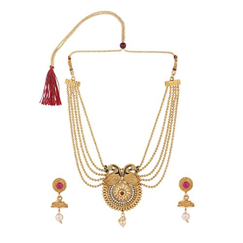 (Efulgenz Indian Bollywood Traditional White Red Green Rhinestone Faux Ruby Emerald Heavy Bridal Designer Multistranded Lariat Necklace Set for Women and)