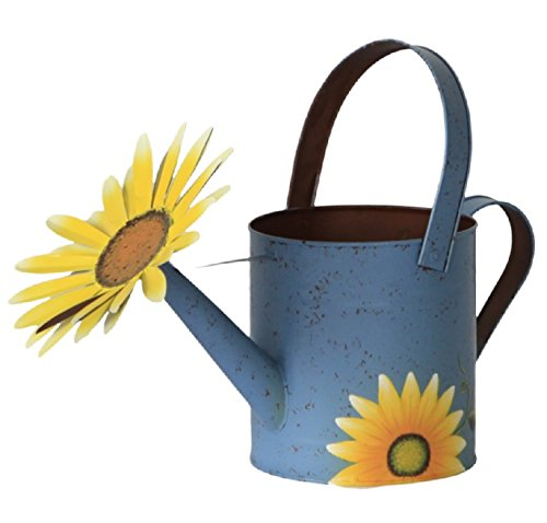 (Attraction Design Antique Finish Spring Decorative Watering Can (Blue Can))