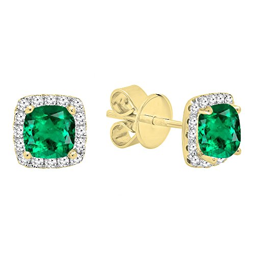 (Dazzlingrock Collection 14K Each 4 MM Cushion Lab Created Emerald & Round Diamond Halo Stud Earrings, Yellow Gold)