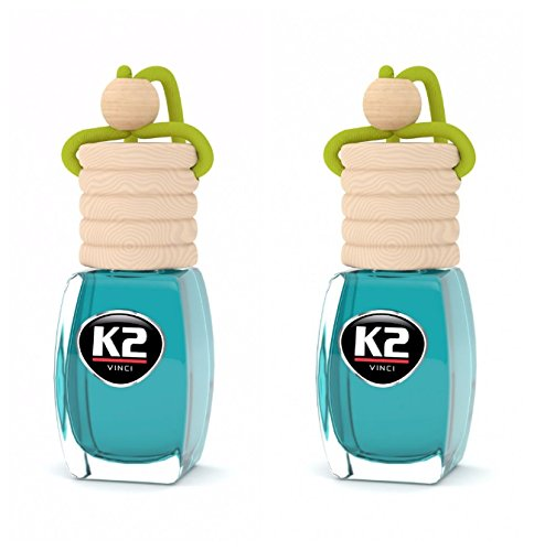2 Pack - K2 Vento Car Air Freshener SPICY CITRUS Scent   Natural Soaking Wood Cap   Odor Eliminator for Cars Home Office Hotel Bathroom Closet Pet Areas   Perfume made in France