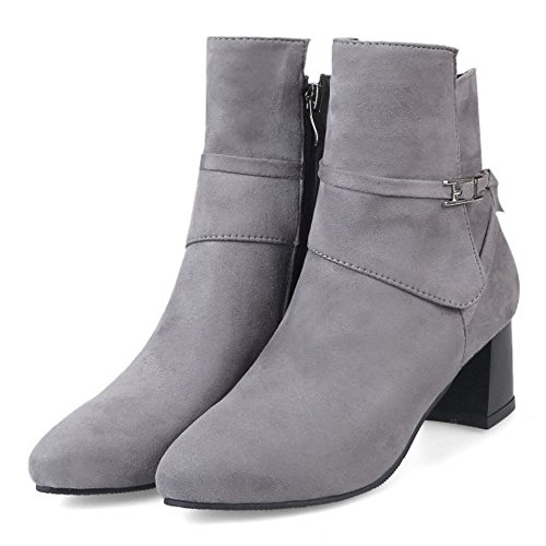 Botas Correas Mujer Cremallera Gris COOLCEPT 6PaqwvnaZ