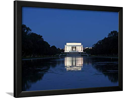 ArtEdge Lincoln Memorial Reflection in Pool, Washinton D.C, USA by Stocktrek Images, Wall Art Framed Print, 18x24, Black Unmatted