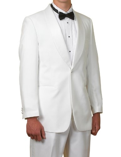 New Men's 1 Button White Shawl Collar Tuxedo Suit by New Era Factory Outlet