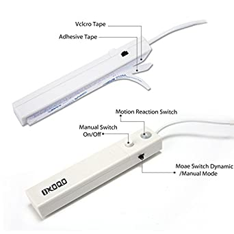 Amazon.com: Motion Sensor 1m 30 LED Strip Light, Battery operated String Lights with 2 Switch Modes, Warm White Night Light for Home Closet Cabinet Stairs: ...