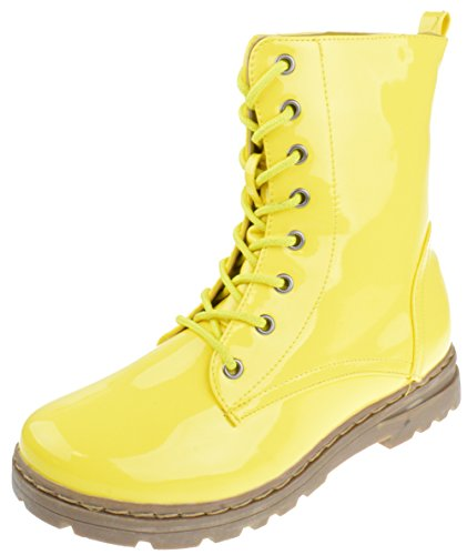 Nature Breeze Gwen 01 HI Womens Patent Milatary Lace up Combat Boots Yellow 6.5