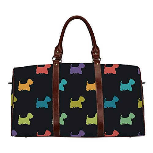 Dog Lover Personal Travel Bag,Colorful Dog Silhouettes West Highland Terriers Canine Cartoon Style Animal Fun for Market,18.62