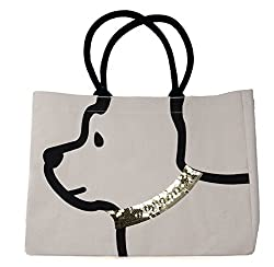 Sequin Collar Dog Print Cotton Tote bag
