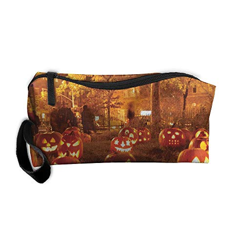 King Fong Halloween Pumpkin Makeup Bags Men/Women, Travel Toiletry Bag, Oxford Pencil -