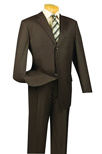 SUITS OUTLETS Classic Fit Men's Business Suit 3 Buttons Design Solid by SUITS OUTLETS