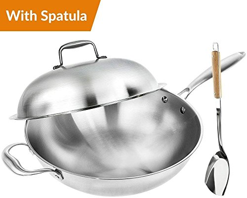 Bottom Flat Cookware (Wok Pan with Premium Lid and Bonus Bamboo Spatula - Thick 13 Inch Stainless Steel Fry Pan with Ergonomic Handle and Non-Stick Scratch-Resistant Surface - Sturdy 2mm thick design that is Oven-Safe)