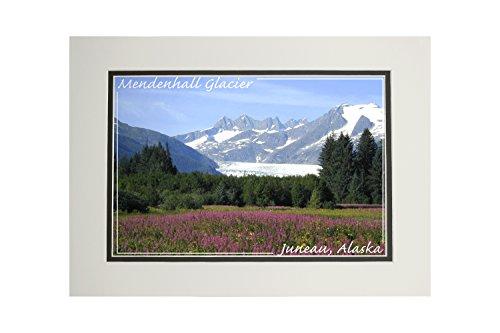 - Juneau, Alaska - Mendenhall Glacier (11x14 Double-Matted Art Print, Wall Decor Ready to Frame)
