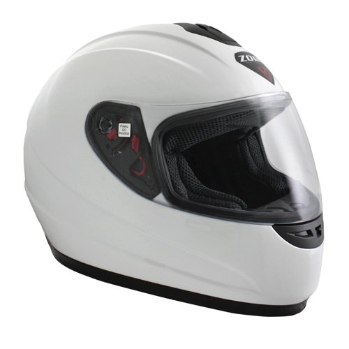Zoan Thunder Solid Gloss White Full Face Street Motorcycle Riding Helmet X-Small ()
