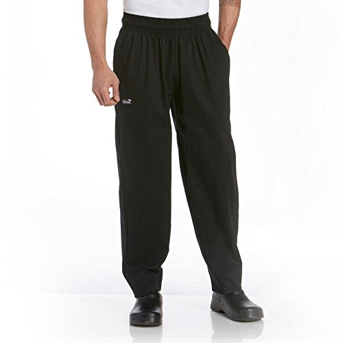 Solid Black Baggy Chef Pants (Chefwear 3000-30 Medium Black Baggy Chef Pants)