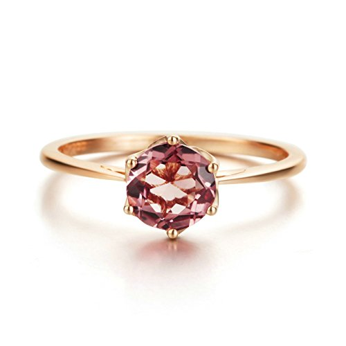 Gnzoe Rose Gold Women Wedding Rings Solitaire Engagement Rings Rose Gold with Rose 0.85ct Diamond Size 7 by Gnzoe