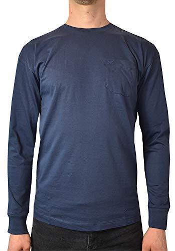 (Pierre Cardin Mens 100% Cotton Long Sleeve Chest Pocket Pastel T Shirt-Navy-XXL)