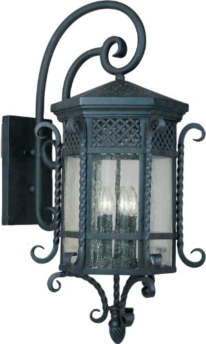 Maxim 30126CDCF Scottsdale 5-Light Outdoor Wall Lantern, Country Forge Finish, Seedy Glass, CA Incandescent Incandescent Bulb , 10W Max., Wet Safety Rating, 3500K Color Temp, Glass Shade Material, 480 Rated Lumens